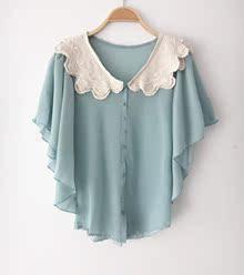 特价外贸/夏款女装日系清新甜美钩花娃娃领荷叶短袖雪纺衫上衣