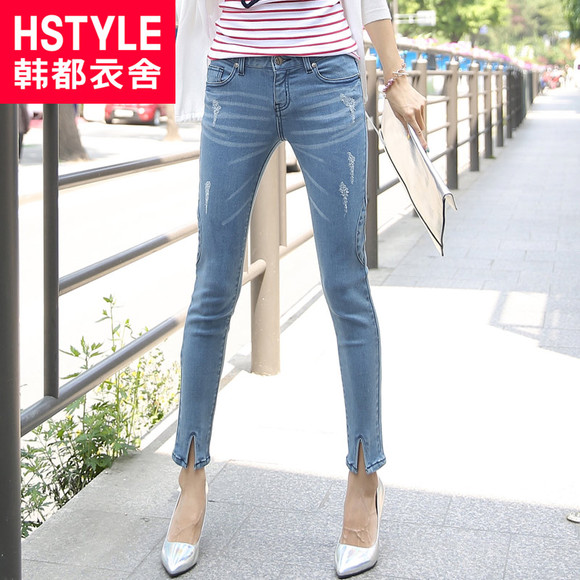 两件七折韩都衣舍韩版2014秋装新款女装修身显瘦牛仔裤JH3366湲