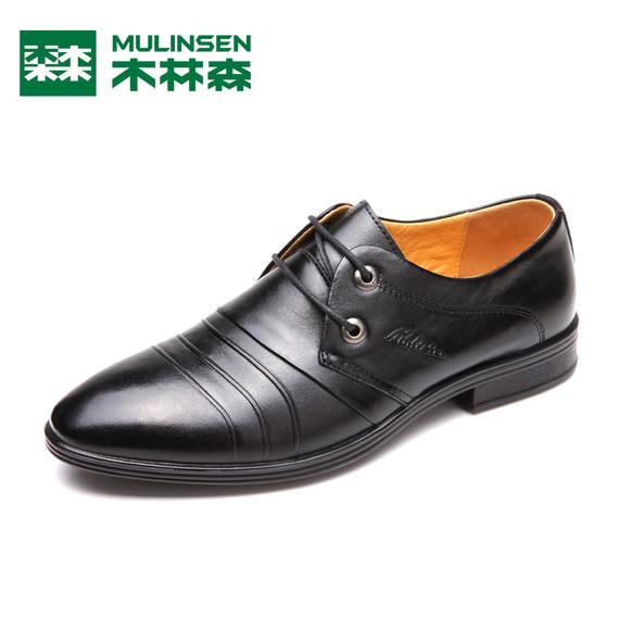 木林森男鞋皮鞋 2014新款真皮正品 商务休闲时尚潮流系带男皮鞋子