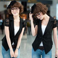 2014新品韩版修身女装耸肩 蕾丝女士小西装外套小西服