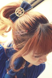 《59包邮》韩国代购 kaki同款串珠金牌 气质蝴蝶结发饰头饰发夹