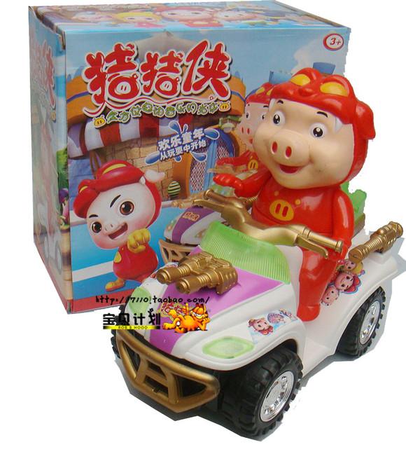 包邮最新款猪猪侠全方位电动音乐万向闪光玩具车动感声音炫彩灯光