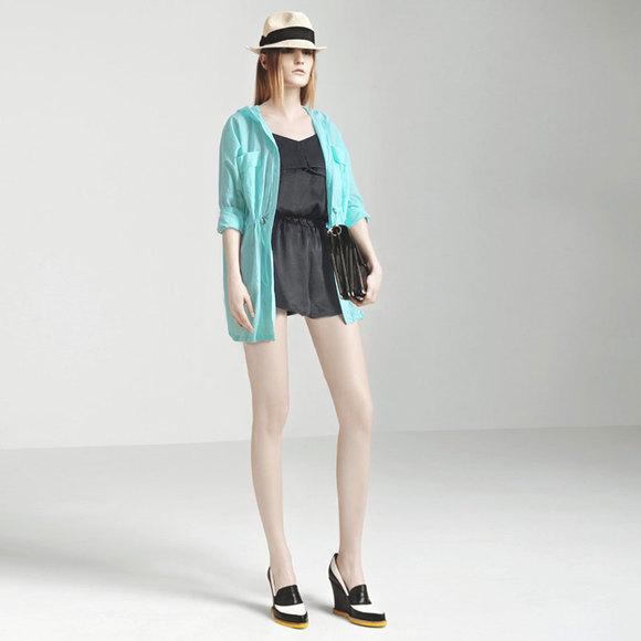 2014夏装新款宽松大码纯棉衬衫连帽外套防晒服开衫薄中长款空调衫