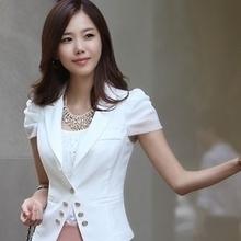 2014春夏新款一粒扣七分袖小外套女装韩版修身显瘦短袖雪纺小西装