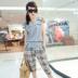 七十二变时尚屋[BM2052]套装女夏装外出套装2014新品格纹短袖套装
