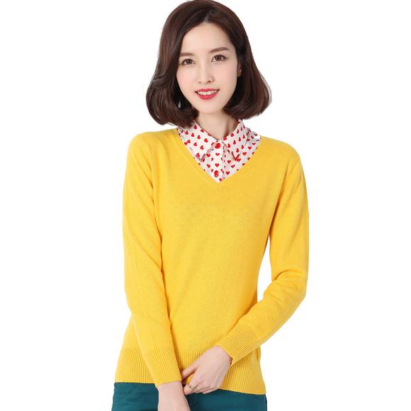 14秋装新款v领纯色羊毛衫 女装针织打底衫 宽松长袖女毛衣羊绒衫