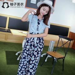2014新款夏装韩版女装牛仔衬衫圆领无袖雏菊印花连衣裙长裙AU782