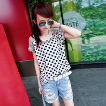 七折72变时尚屋[LB41322]夏装新款2014波点拼接镂空短袖女t恤宽松
