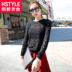 韩都衣舍韩版2014秋装新款女装长袖修身纯色蕾丝T恤MR4328汩0716