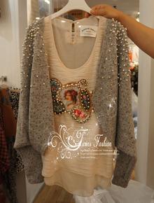 韩国代购 秋装新品2色入珍珠点点蝙蝠款随性无扣短开衫外套 特