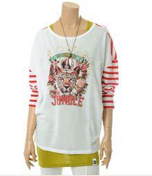 13年春款 韩国原单 女款彩条 拼接印花 长袖T恤HANGTEN 欢腾 H&T