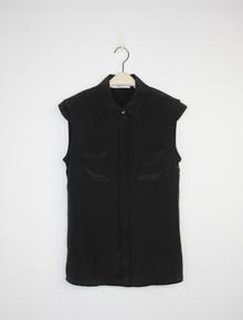 Givenchy气质垫肩款 简约廓型 重磅真丝 无袖衬衫