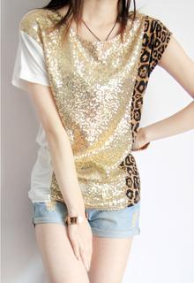 2013夏装新款女装 时尚 豹纹亮片拼接蝙蝠袖莫代尔短袖 T恤 韩版
