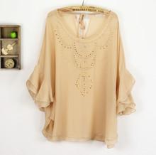 原单外贸2013新品夏装女式大码宽松款雪纺衫单层圆领雪纺蝙蝠衫