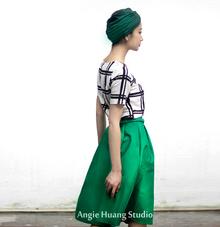 范冰冰同款黑白格子伞裙复古格纹印花T恤+绿色半裙套装送腰带