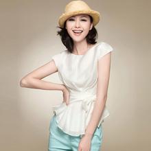 十月传奇女装 2013夏季新款时尚韩版修身衬衣 职业通勤OL短袖衬衫
