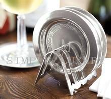 简单的奢华 美国进口欧式复古铝制刻花滚边镀银杯垫一组4个