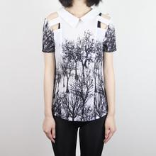 2012韩版新款asos漏肩镂空泼墨森林树林印花雪纺衫女款短袖T恤