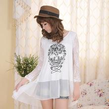 2013韩版新款夏 大码女装圆领宽松别针骷髅莫代尔蕾丝拼接上衣T恤