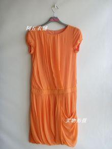 oikos专柜下架 圆领中腰短袖灯笼裙摆连衣裙 1071 2色