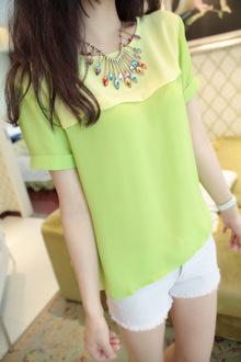 春夏装韩系甜美清新打底衫 荷叶边复古撞色短袖T恤 显瘦雪纺衫女