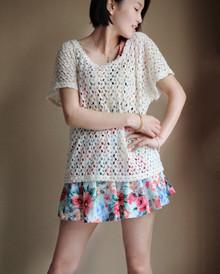 纯棉新款镂空百搭针织衫宽松休闲甜美百搭镂空罩衫女日系