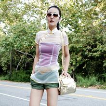 2012夏装新款 原创设计中国风独家弹力白色网纱半透明短袖旗袍t恤