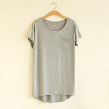 包邮欧美风女新款夏季圆领宽松短袖T恤前短后长T纯色口袋T桖特价