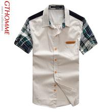 男士短袖格纹衬衫男装 夏季韩版修身格子拼接半袖个性公子衬衣