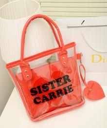 透明包包2013新款韩版 糖果色透明包新品女包 水晶包沙滩包果冻包
