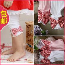 3件包邮2013夏装新款韩版童装女童蝴蝶结中裤儿童宝宝打底裤子