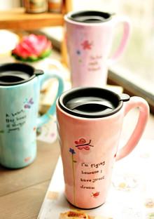 低价热卖 文艺清新范 彩绘田园风咖啡马克杯陶瓷杯子 大容量带盖