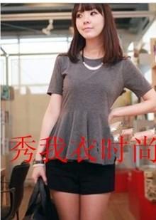 大码女装,韩国风夏季新款修身瘦腰遮肚短袖圆领大下摆t恤可定做
