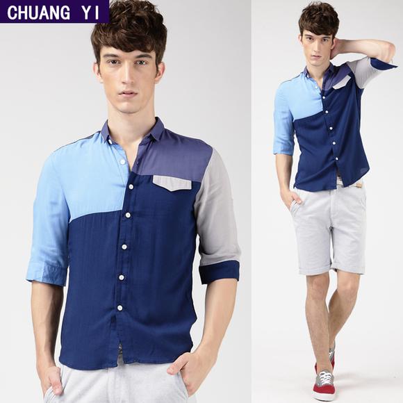 男衬衫 韩版修身休闲纯棉拼接七分中袖男士衬衣 创益男装短袖衬衫