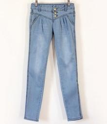 特价2013最新韩版女式哈伦多可袋牛仔裤铅笔裤 弹力 小脚破洞