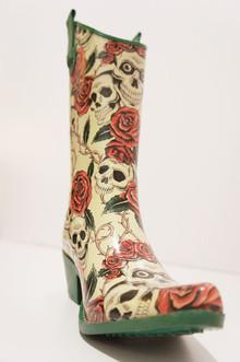 Ed hardy。骷髅玫瑰。涂鸦橡胶雨靴高筒靴。sold。