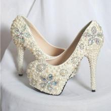 奢华超美内增高防水台水晶水钻宝石珍珠新娘舞会婚鞋单鞋高跟鞋