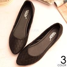 2013新款休闲平底单鞋平跟鞋尖头时尚百搭浅口格子黑色OL皮鞋女鞋