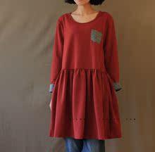 【林谢了花红】-- 日式森女风旧红低调文艺范连衣裙。包邮特!