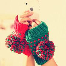 绮惑 韩版冬天可爱毛球球针织半指女士半指保暖毛线手套 2件包邮
