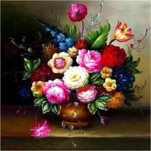 丝线百分百精准印花十字绣 欧式 油画花瓶 新款客厅大幅卧室包邮