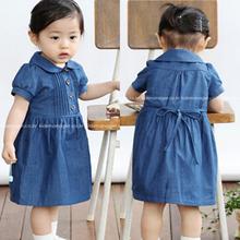 2013夏装韩版童装 牛仔娃娃领公主儿童宝宝女童短袖连衣裙子5795