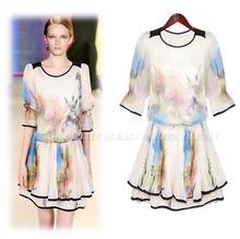 PinKWin2013夏装新款欧美风数码水墨印花显瘦中袖百褶雪纺连衣裙