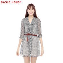 不满减Basic House百家好夏季新品女式碎花两件套连衣裙HLOP322L