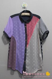 强货外贸原单新款韩版甜美圆点多色拼接翻领短袖开衫雪纺衬衫特价