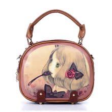 2013时尚韩版潮 撞色手提包女卡通包包单肩包女斜挎包复古小包包