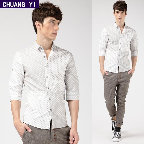 男衬衫 包邮创益夏季韩版七分中袖修身圆点接拼男装 男士短衫衬衫