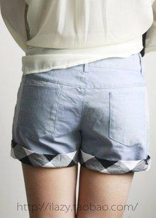 包邮!棉麻质感 薄款格子边中腰短裤 白菜价超值回馈