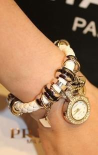 新款编织皮带水钻手表 欧美时尚个性女表 镶钻潮时装手链表吊坠表