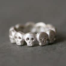个性复古骷髅戒指 银 美国代购设计师手工原创定制戒指 独一无二